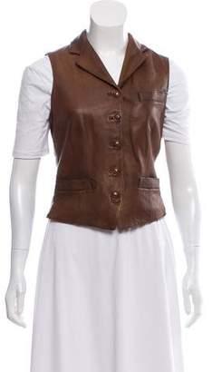 Ralph Lauren Leather Notch-Lapel Vest w/ Tags