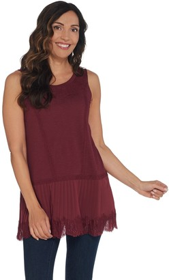 Logo By Lori Goldstein LOGO Lavish by Lori Goldstein Cotton Tank with Lace & Pleated Trim