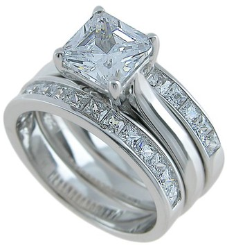 Plutus Brands Plutus Sterling Silver 3 Piece Wedding Ring Set