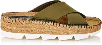 Jimmy Choo DANAE FLAT Olive Techno Fabric Sandals