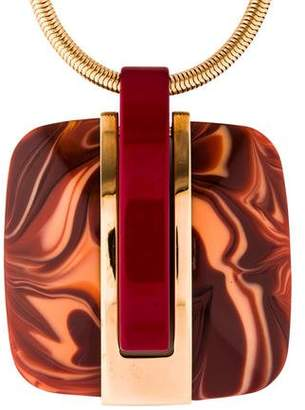Lanvin Square Resin Pendant Necklace