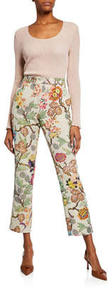 Etro Floral Print Cloque Cropped Trousers