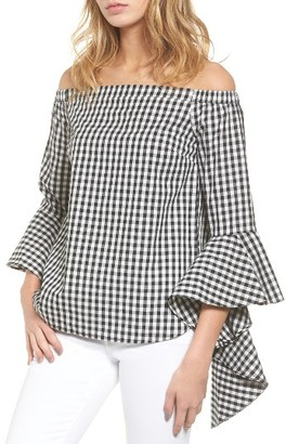 Women's Chelsea28 Gingham Off The Shoulder Blouse $79 thestylecure.com