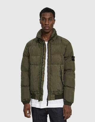 Stone Island Garment Dyed Crinkle Reps Real Down Jacket in Olive