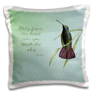 3dRose Hummingbird vintage with Rumi quote inspirational art - Pillow Case, 16 by 16-inch