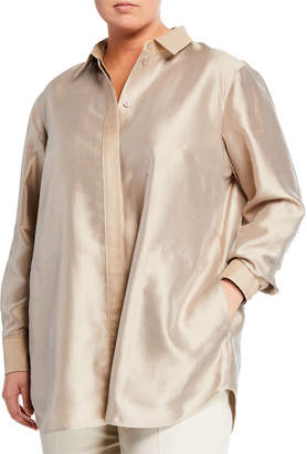 Lafayette 148 New York Carlisle Button-Down Silk Blouse Plus Size