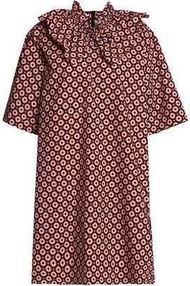 Marni Ruffle-Trimmed Printed Cotton-Poplin Mini Dress