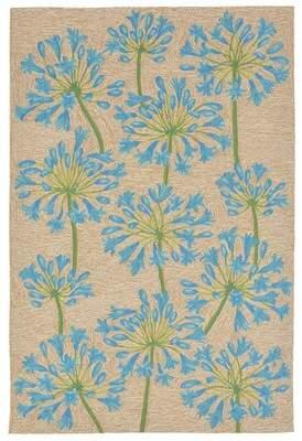 August Grove Dazey Lily Hand-Tufted Beige/Blue Indoor/Outdoor Area Rug August Grove