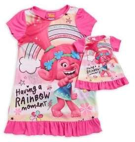 AME Sleepwear Little Girl's and Girl's Two-Piece Trolls Rainbow Moment Nightgown Set