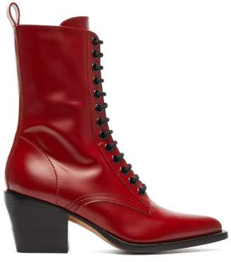 Chloé - Point Toe Lace Up Leather Boots - Womens - Dark Red