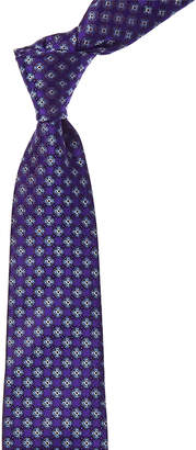 Canali Bright Blue Floral Silk Tie