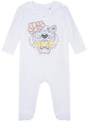 Kenzo Flower Tiger Logo Ruffle-Trim Footie Pajamas, Size 3-9 Months