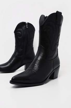 PrettyLittleThing Womens Stitch Detail Western Calf Boot - Black