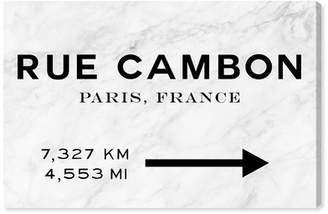 """Oliver Gal Gallery Rue Cambon Road Sign Canvas Print - 24\""""x16\"""""""