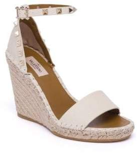 Valentino Rockstud Double Leather Espadrille Wedge Sandals