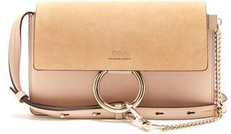 Chloé Faye Small Suede And Leather Shoulder Bag - Womens - Light Pink