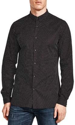 The Kooples Pin Dot Skull Snap Slim Fit Shirt