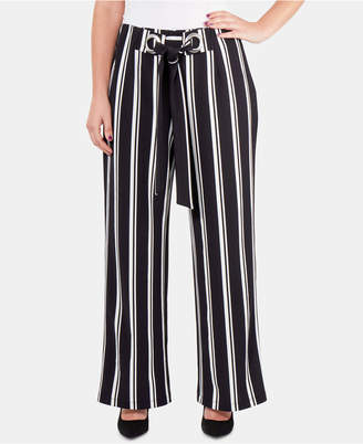 NY Collection Striped Tie-Waist Faux-Wrap Pants