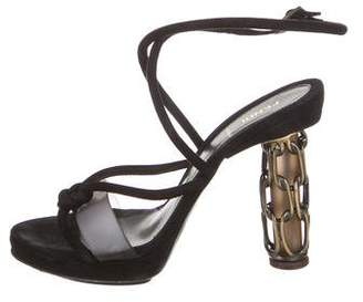 Fendi Knot-Accented Ankle Strap Sandals