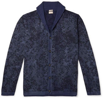 Massimo Alba Shawl-Collar Printed Cotton And Cashmere-Blend Cardigan