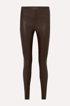 REMAIN Birger Christensen - Snipe Stretch-leather Leggings - Army green