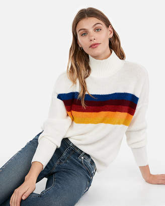 Express Funnel Neck Striped Pullover Sweater