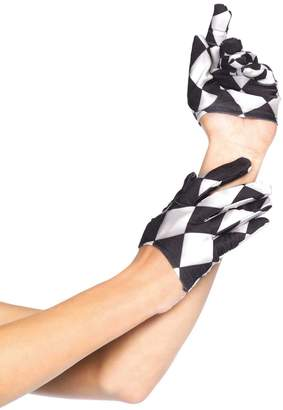 Leg Avenue Women's Harlequin Cropped Gloves, Black/White, One