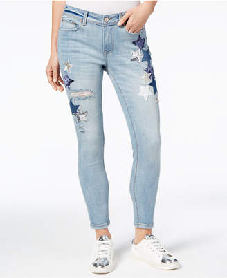 Indigo Rein Juniors' Star-Patch Ripped Skinny Jeans