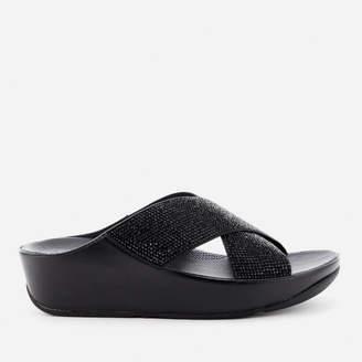 FitFlop Women's Crystall Slide Sandals - Black