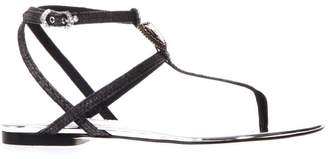 Dolce & Gabbana Black And Silver Sandals With Logo