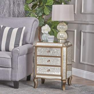 Noble House Brenna Mirrored 3 Drawer Cabinet with Faux Wood Frame, Gold