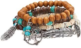Mudd Tree of Life, Leaf & Feather Charm Beaded Stretch Bracelet Set