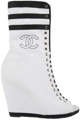 Chanel Black Cloth Boots