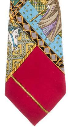 Hermes Knight Print Silk Tie