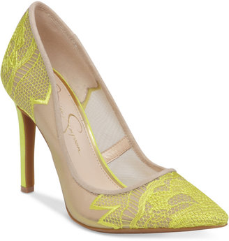Jessica Simpson Camba Lace Pointed-Toe Pumps $89 thestylecure.com