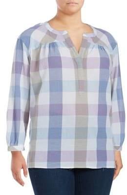 Vince Camuto Plus Plaid Cotton Tunic