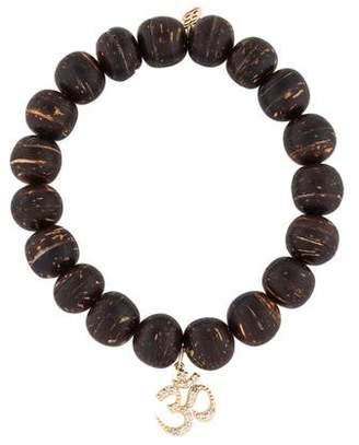 Sydney Evan 14K Diamond Om Coconut Wood Beaded Bracelet