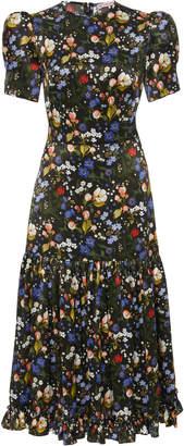 The Vampire's Wife The Hummingbird Floral-Print Silk-Satin Midi Dress