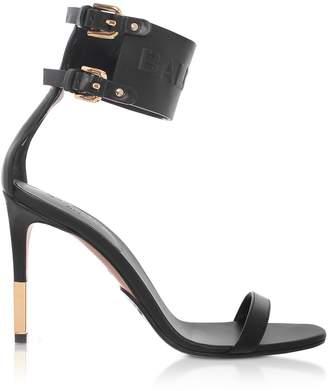 Balmain Black Leather Dune Sandals