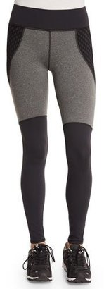 Michi Shadow Net-Insert Stretch Sport Leggings, Charcoal Heather/Black $179 thestylecure.com