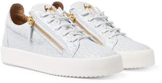 Giuseppe Zanotti Logoball Croc-Effect Leather Sneakers