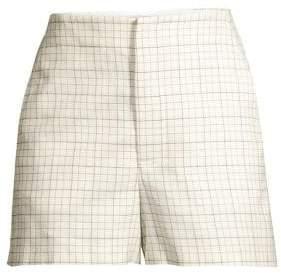 Joie Women's Brusha Grid Cotton Shorts - Porcelain - Size 10