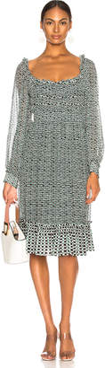 Proenza Schouler Print Dress in Bluestone & Blk Dot   FWRD