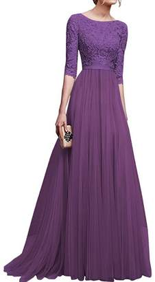 IBTOM CASTLE Women's 3/4 Sleeve Maxi Lace Formal Bridesmaid Wedding Party Dress 2XL