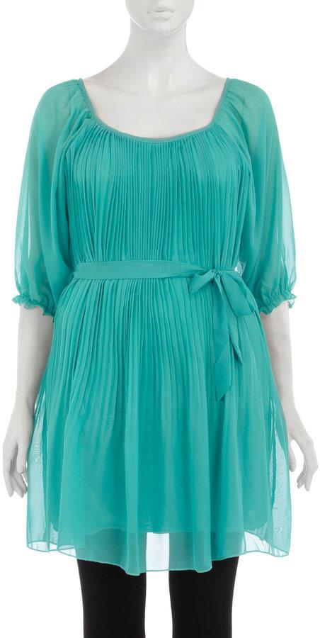Aqua Chiffon Pleated Dress