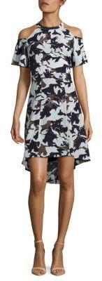 Printed Cold-Shoulder Hi-Lo Dress $168 thestylecure.com