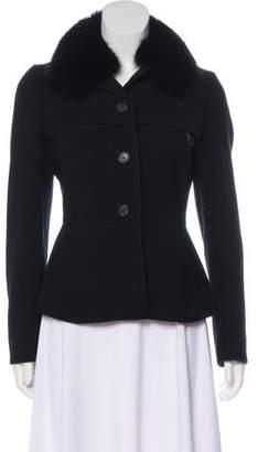 Prada Fur-Trimmed Button-Up Coat