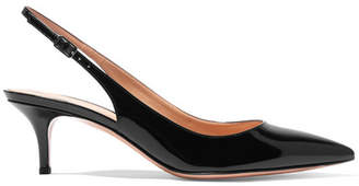Gianvito Rossi 55 Patent-leather Slingback Pumps - Black
