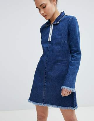 Glamorous Zip Neck Denim Dress