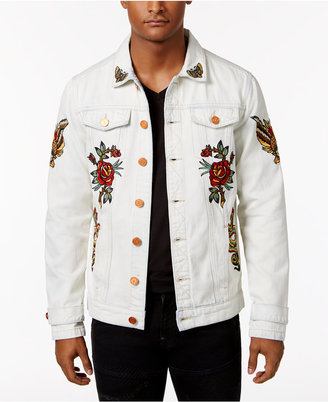 Reason Men's Snakes & Roses Embroidered Cotton Denim Jacket $128 thestylecure.com